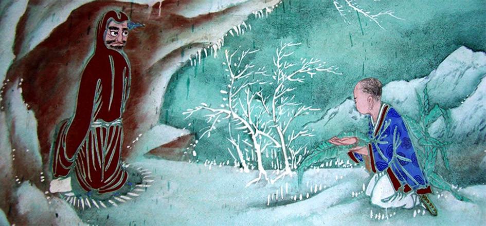 Бодхидхарма и его ученик Хуэй Кэ. Начало традиций храма Шаолинь.